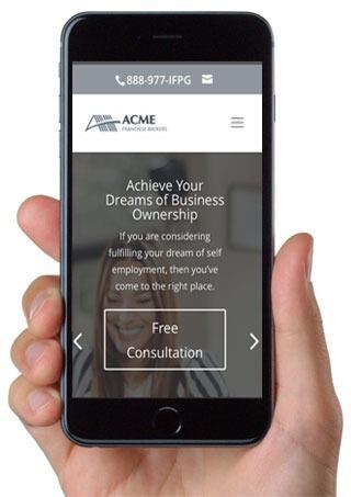Phone showing Franchise Website